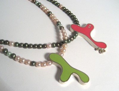 Lime and Pink Biomorph and Pearl Necklaces