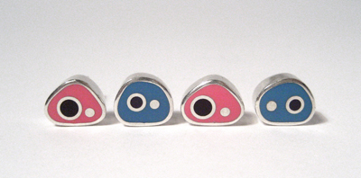 Blue, Pink and Purple Biomorph Studs