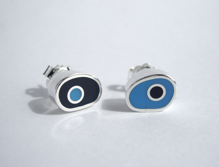 Blue Reversed Biomorph Studs