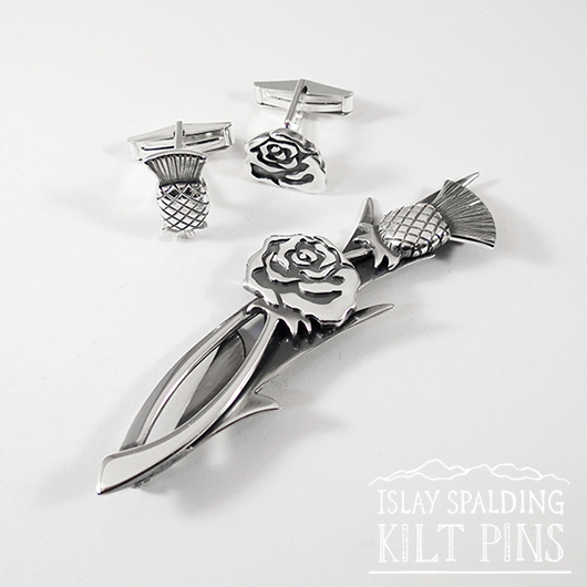 Thistle and Rose Kilt Pin and Cufflinks